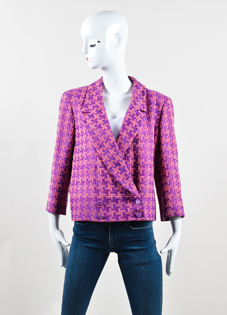Chanel Purple and Pink Geometric Knit Jacket Frontview