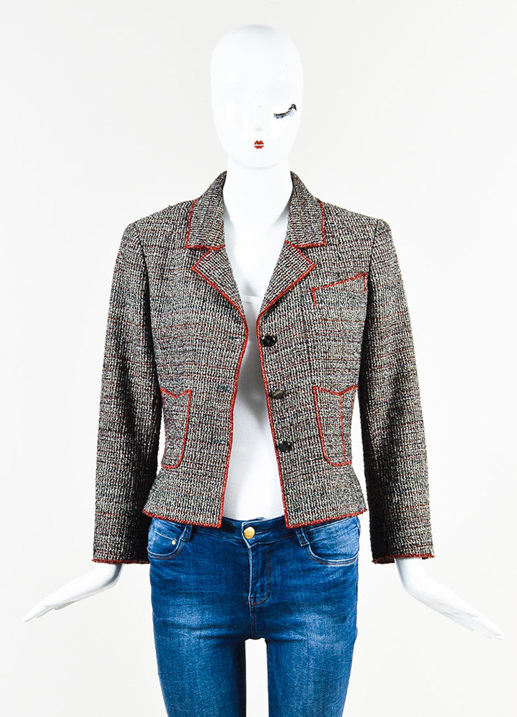 Black White Red Chanel Tweed Knit Button Up Long Sleeve Blazer Jacket Front