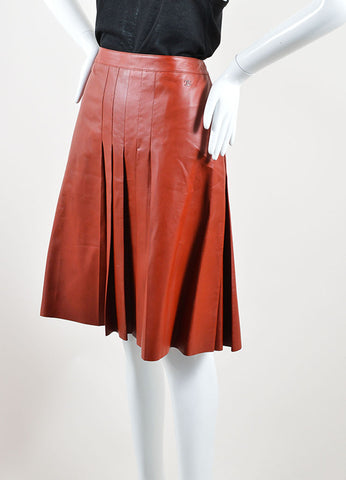 Chanel Dark Red Leather Pleated Knee Length A-Line Skirt Sideview