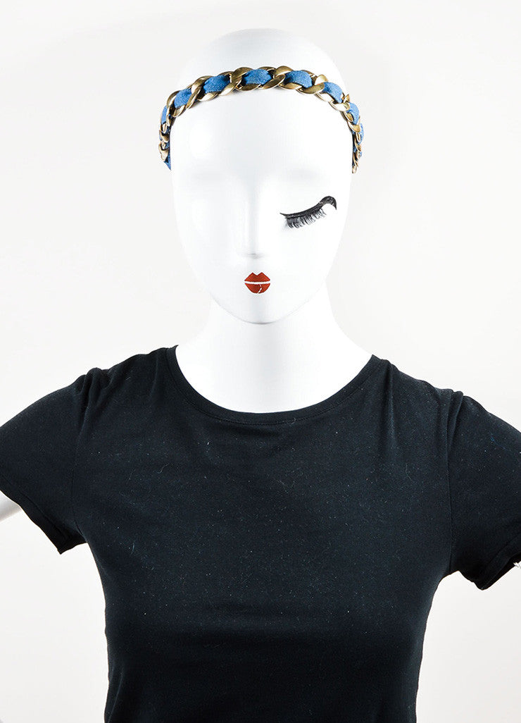 Chanel Gold Toned and Blue Denim 'CC' Logo Stretchy Chain Headband Frontview