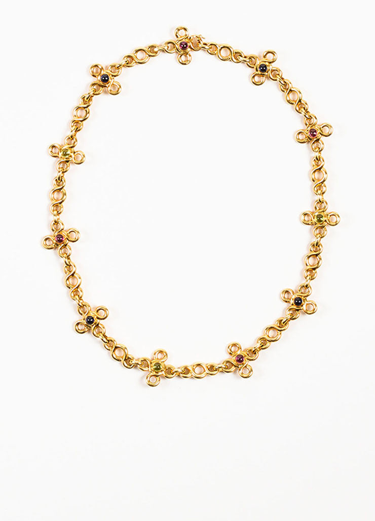 Chanel 18K Yellow Gold and Multicolor Cabachon Gemstone Short Chain Necklace Frontview