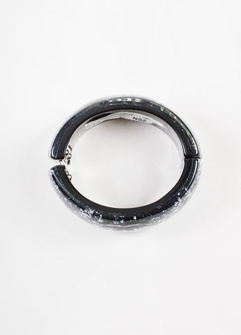 Chanel Black and Silver Lucite 'CC' Glitter Embellished Bangle Bracelet Topview