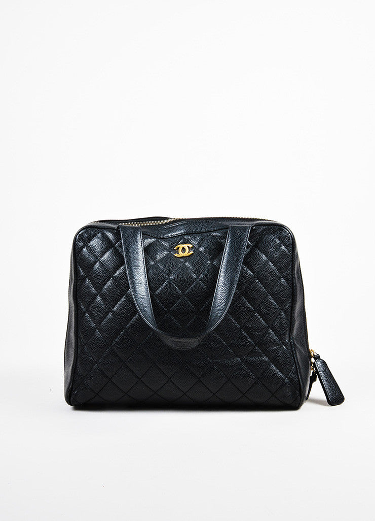 Chanel Black Quilted Caviar Leather Gold Toned 'CC' Zip Shoulder Bag Frontview