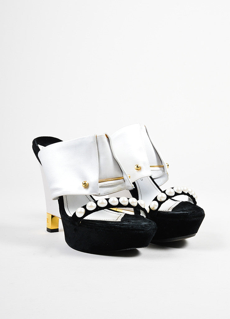 Black and White Chanel Satin and Velvet Faux Pearl Embellished Wedge Heel Mule Sandals Frontview