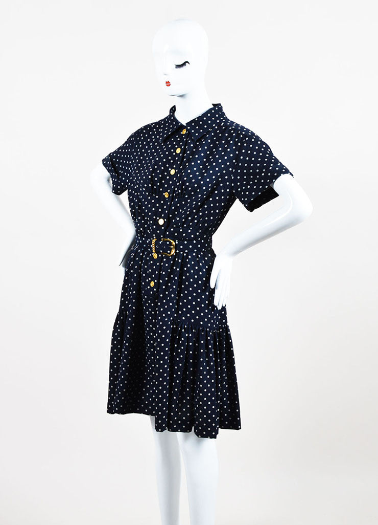 Chanel Navy and Beige Crepe Polka Dot Printed Short Sleeve Belted Shirt Dress Sideview