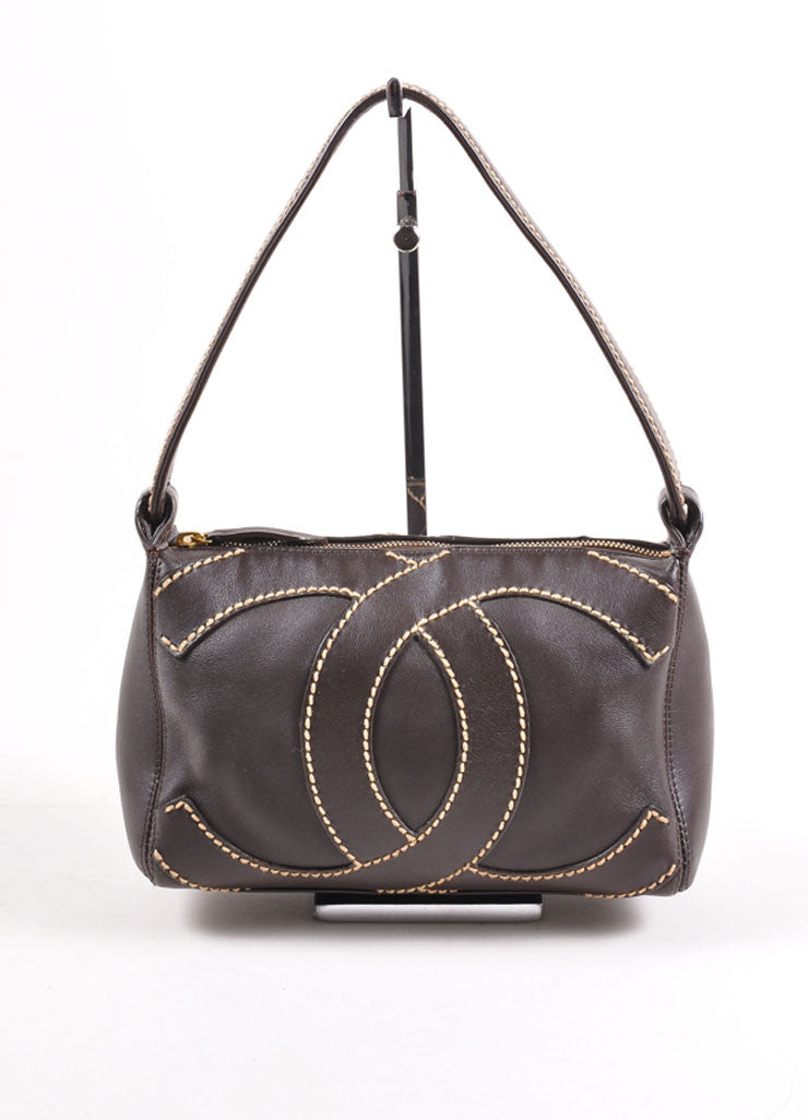 "Chanel Brown Leather Stitched ""CC"" Shoulder Bag Frontview"