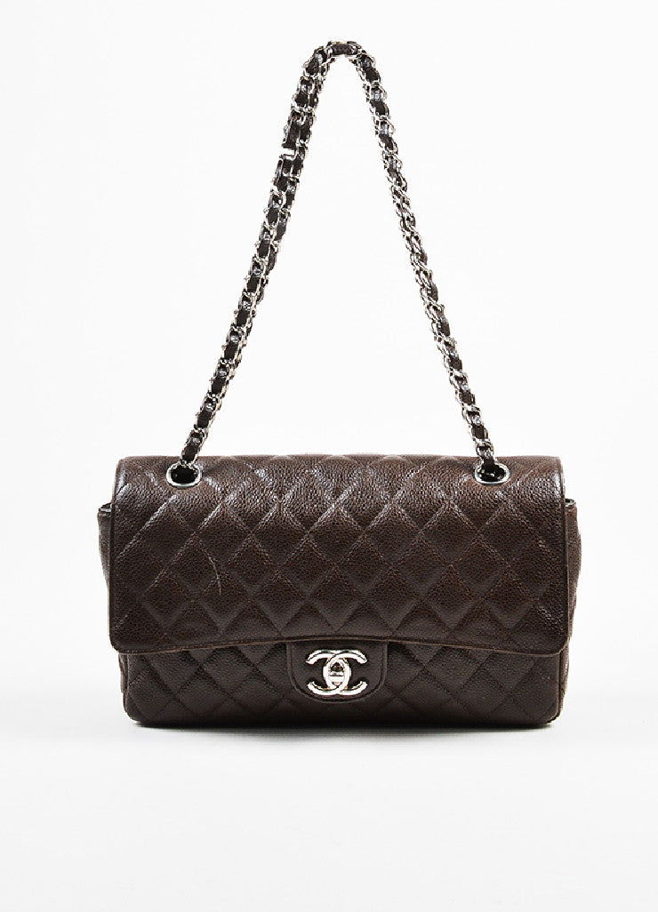 "Brown Chanel Quilted Caviar Leather ""Medium Double Flap"" Shoulder Bag Frontview"