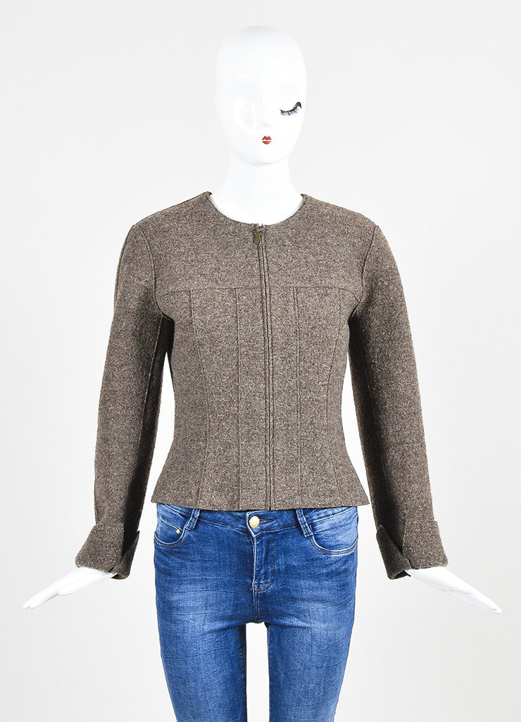 Chanel Brown Wool Textured Cuffed Zipped Jacket with Belted Pouch Frontview 2