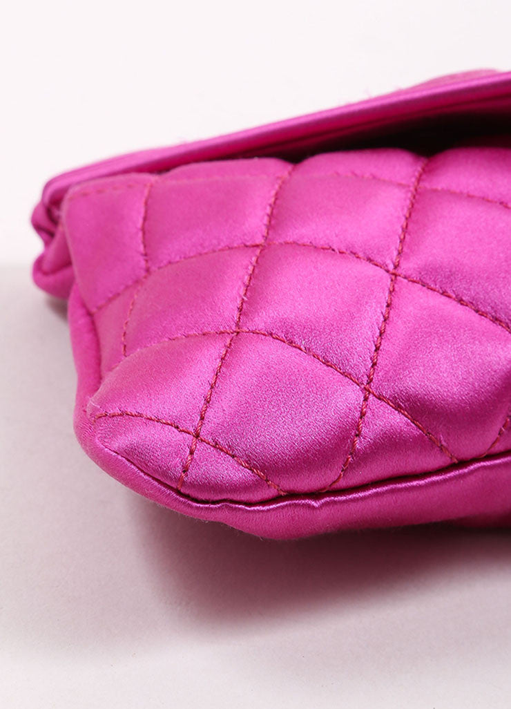 "Chanel Fuchsia Pink Satin Quilted ""CC"" Fold Over Half Moon Clutch Bag Detail"