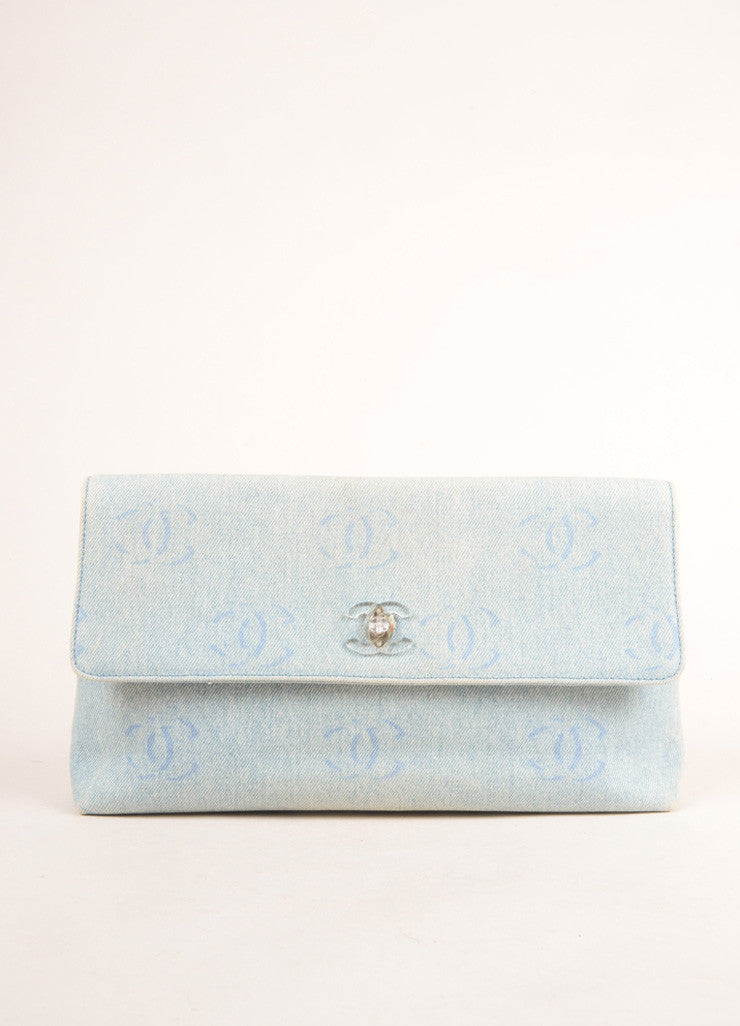 "Chanel Pale Blue Denim ""CC"" Logo Clutch Bag Frontview"