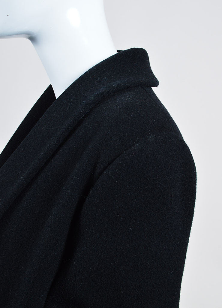 Black Christian Dior Wool Double Breasted Shawl Collar Full Length Coat Detail
