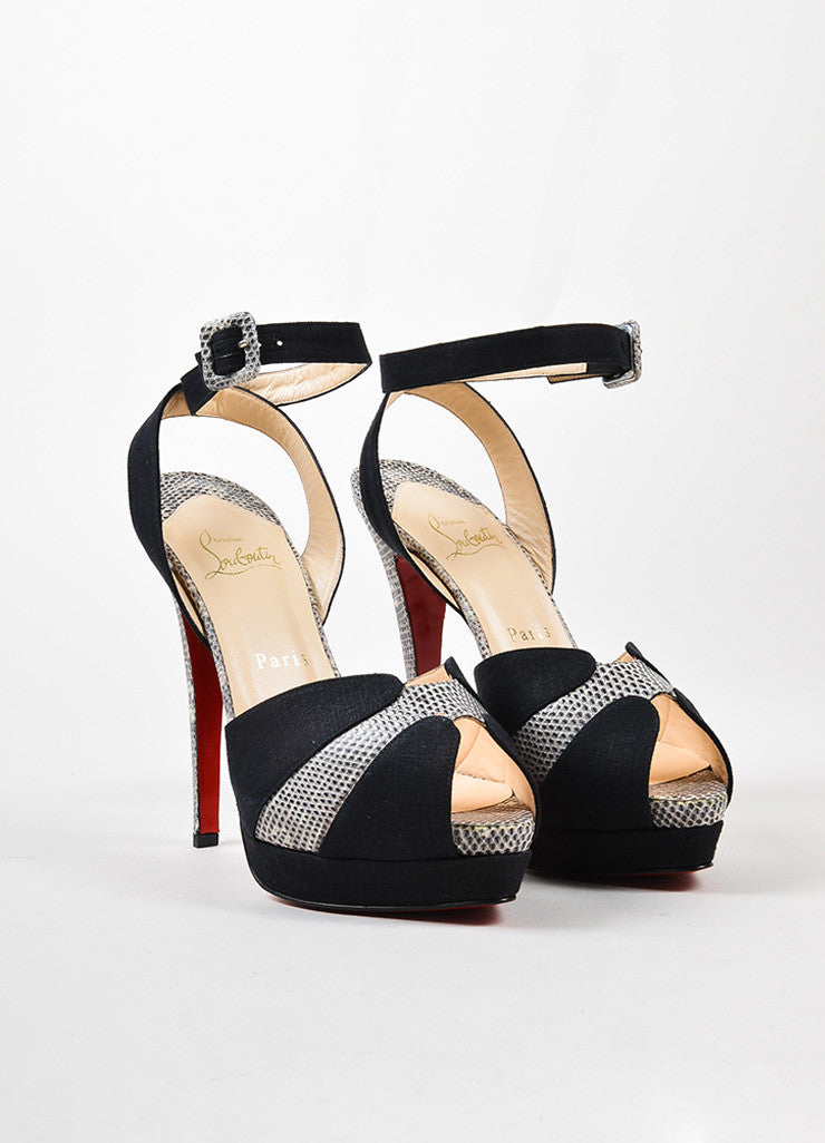 "Black Christian Louboutin ""Double Moc 140"" Sandals Front"