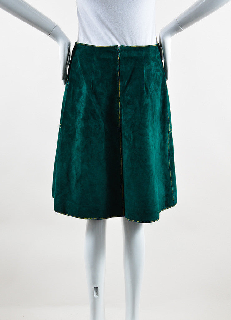 Derek Lam Green Suede Leather A Line Skirt Back