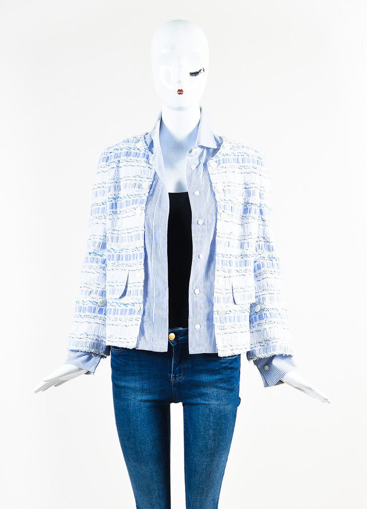 Dolce & Gabbana Blue and White Poplin Removable Tweed Long Sleeve Shirt Jacket frontview 3