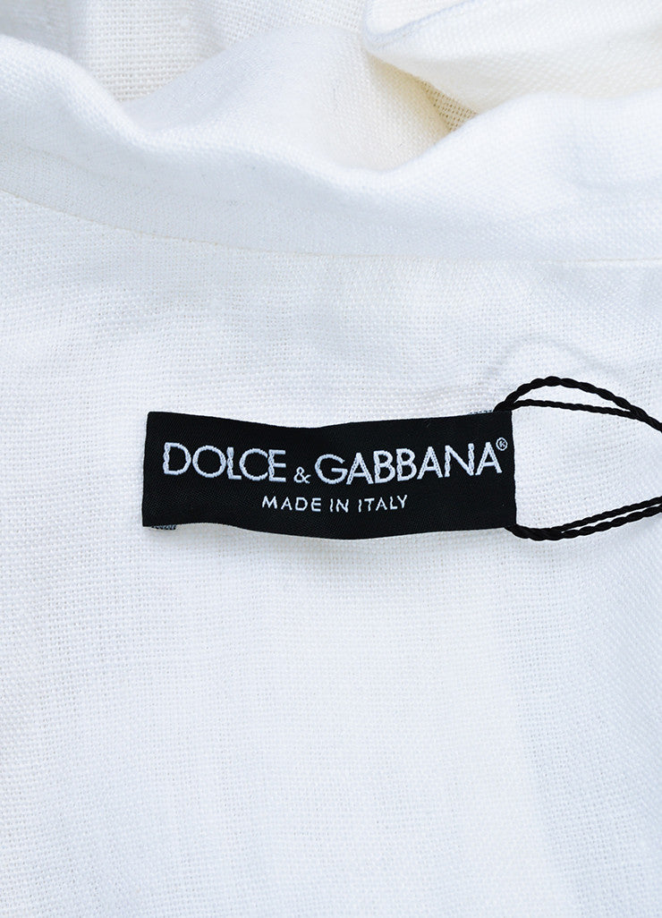 Dolce & Gabbana White Linen Double Breasted Jacket Brand