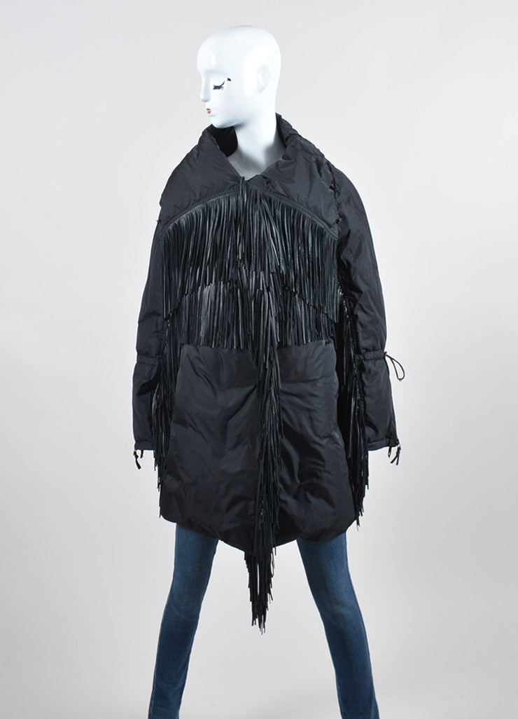 Black Ermanno Scervino Leather Fringe Down Coat Frontview 2