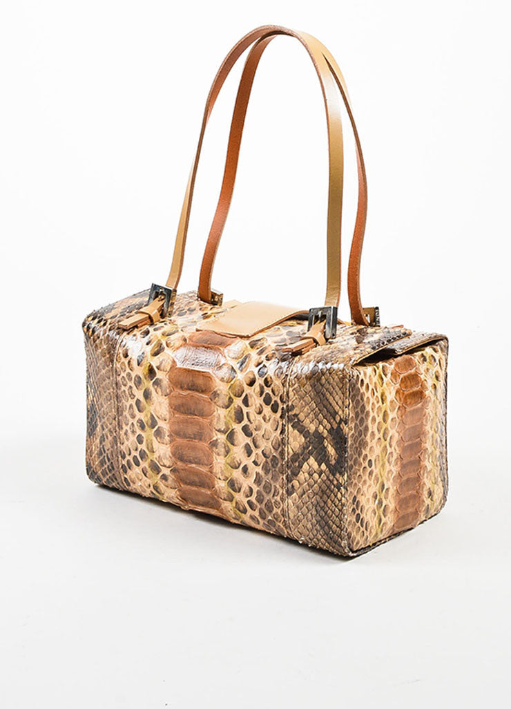 Brown and Beige Fendi Python Leather Box Bag Sideview
