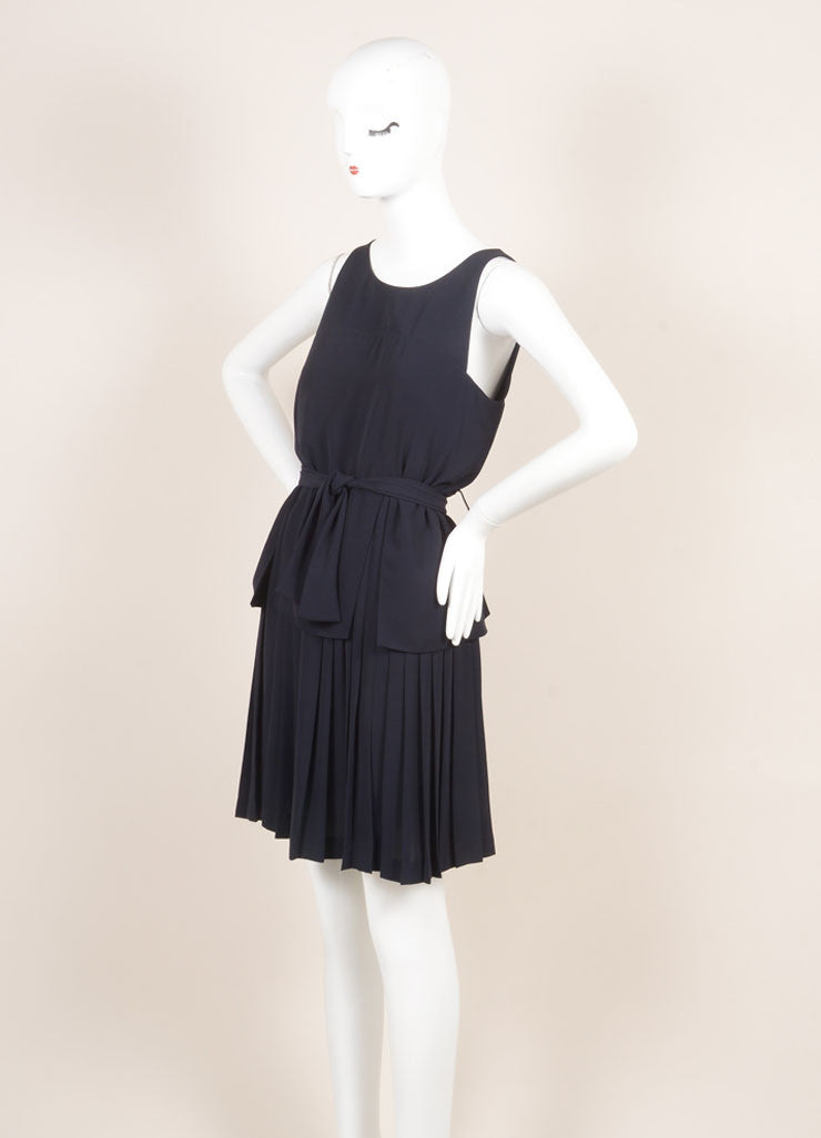 Fendi Navy Blue Layered Pleated Belted Sleeveless Dress Sideview