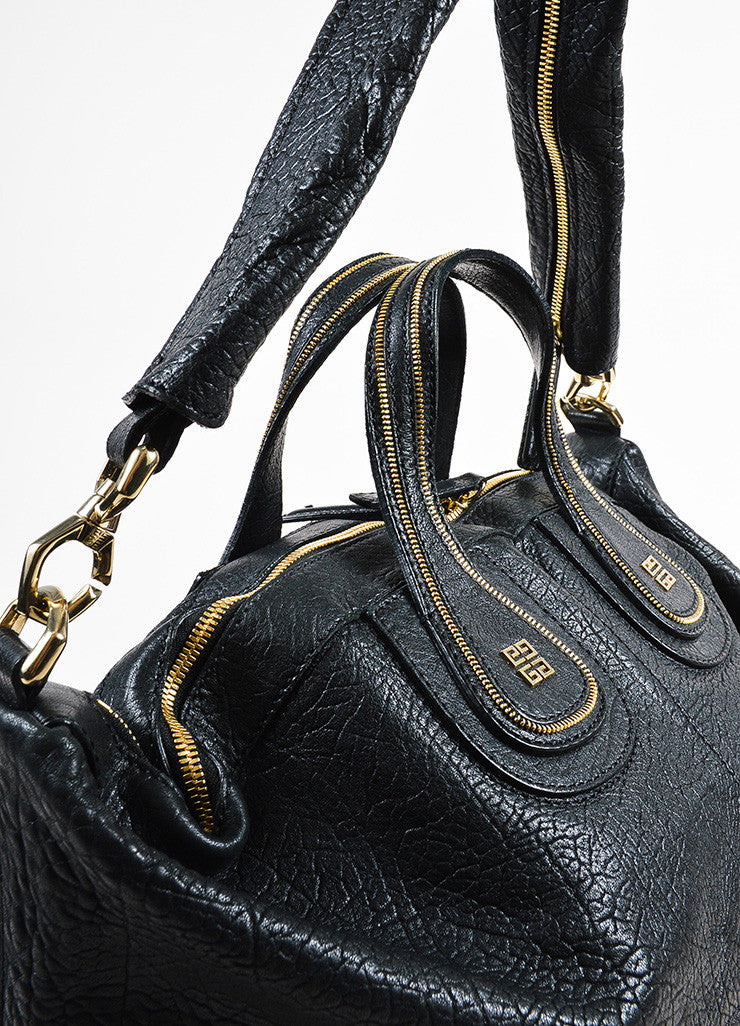 "Givenchy Black Leather Large ""Nightingale"" Zipper Detail Tote Bag With Strap Detail 2"