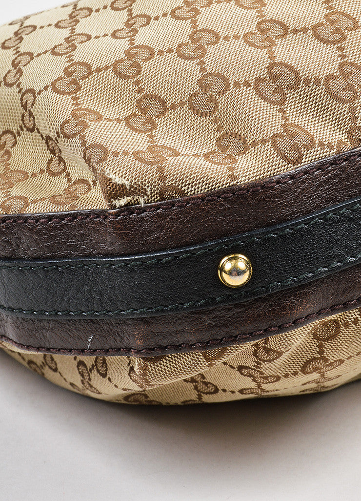 "Brown and Tan Gucci Canvas Leather 'GG' Monogram ""Interlocking"" Medium Hobo Bag Detail"