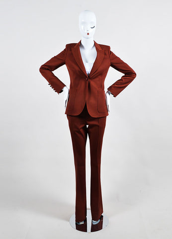"""Roasted Sand"" Red Gucci Wool Single Button Jacket Pants Suit Frontview"