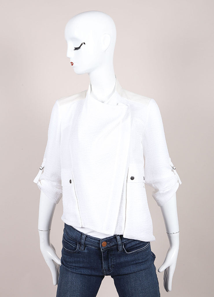 Helmut Lang White Lightweight Sheer Knit Leather Trim Crop Sleeve Jacket Frontview