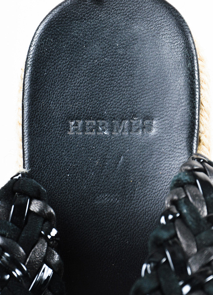 Hermes Black Contrast Woven Suede Patent Leather Espadrille Wedge Sandals Brand