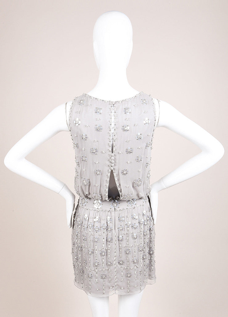 Jenny Packham Grey Silk Beaded Rhinestone Embellished Mini Dress Backview