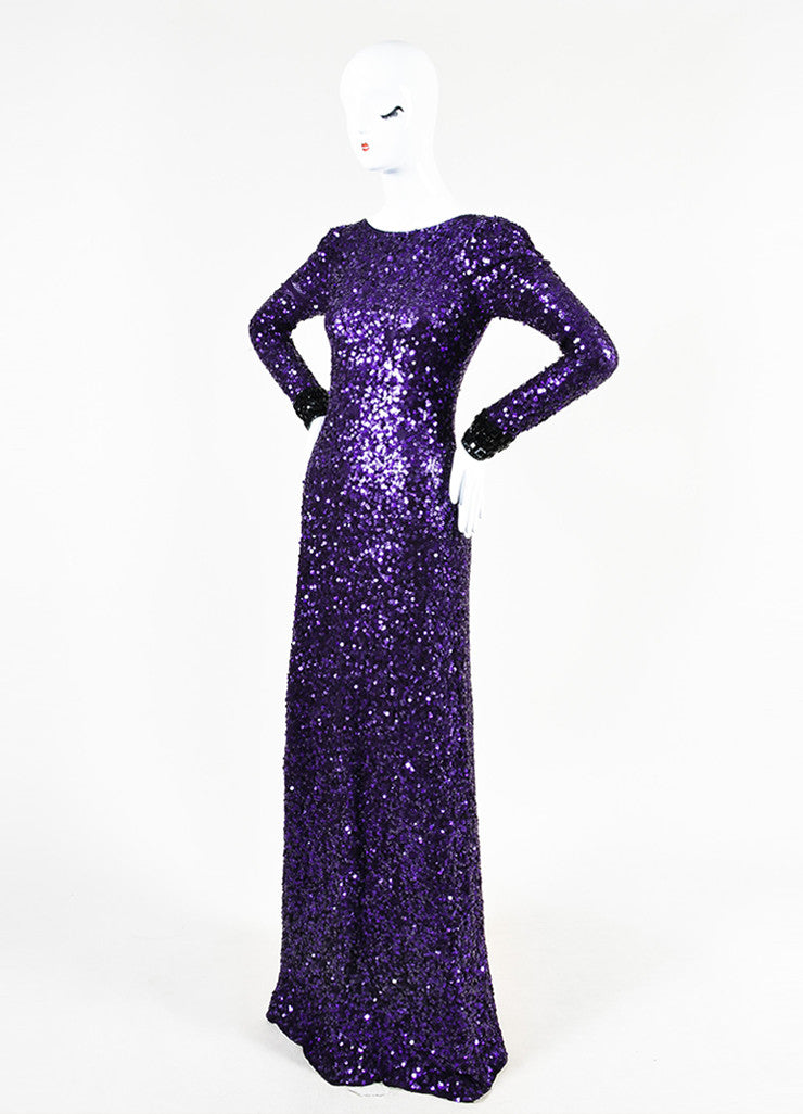 Jenny Packham Purple Sequin Embellished Cuff Long Sleeve Gown Sideview