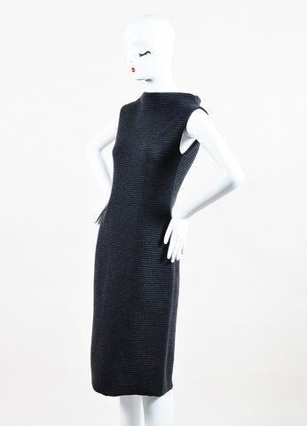 Jil Sander Dark Grey Wool Ribbed Knit Sleeveless Sweater Dress Sideview