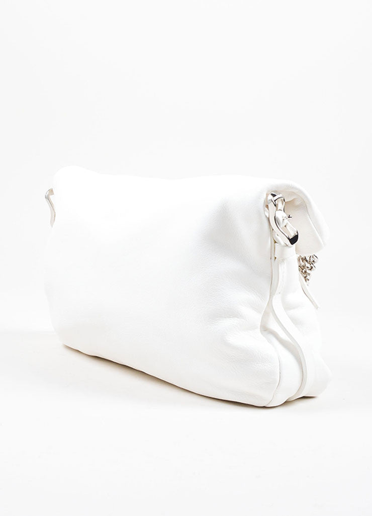 Jimmy Choo White Leather Silver Tone Chain Charm Foldover Shoulder Bag Back