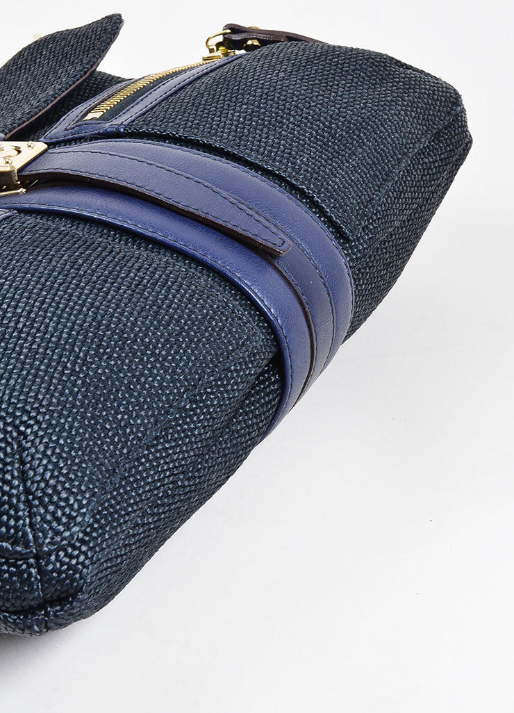 "Black and Navy Blue Lanvin Woven Leather ""Hero"" Chain Shoulder Bag Bottom View"