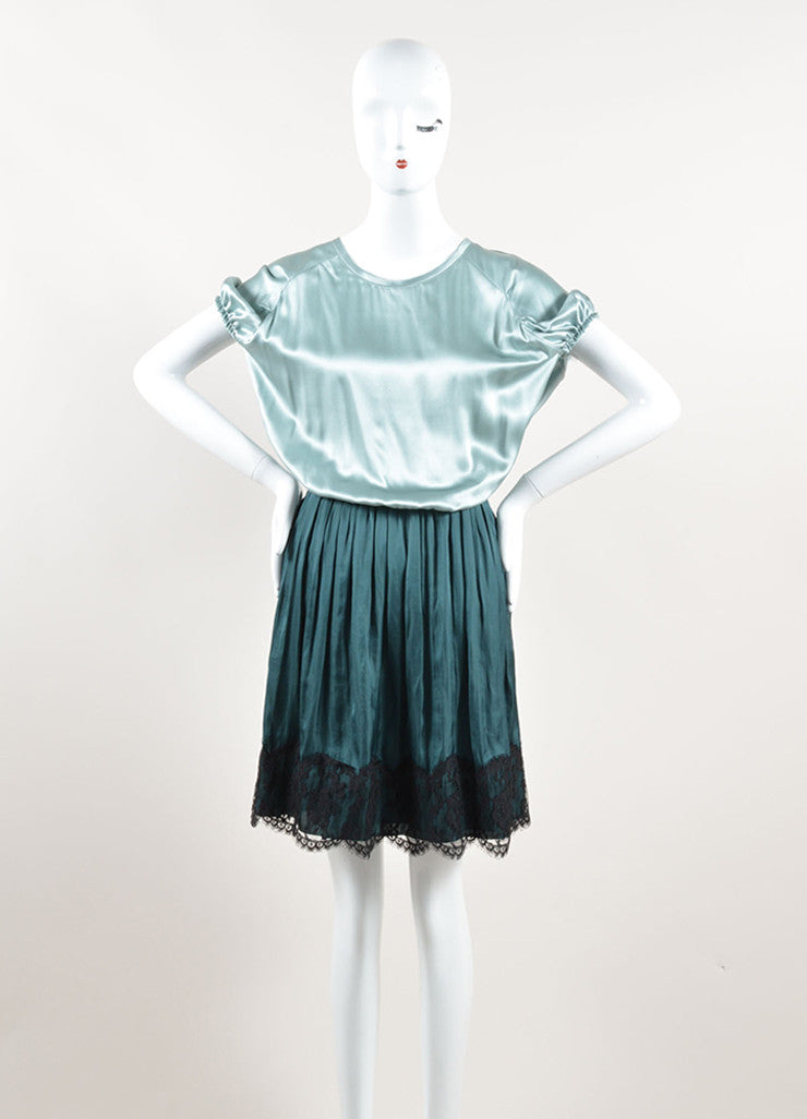 Lanvin Green and Black Silk Contrast Pleated Dress Frontview