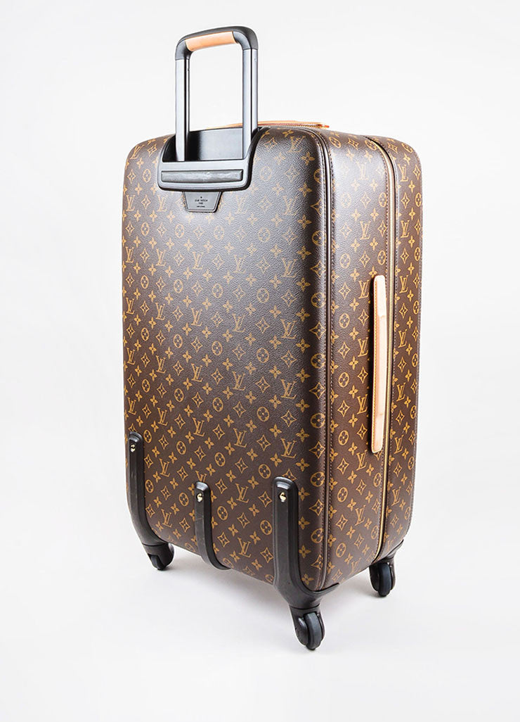 "Louis Vuitton Brown Coated Canvas Monogram ""ZEPHYR 70"" Trolley Luggage Sideview"