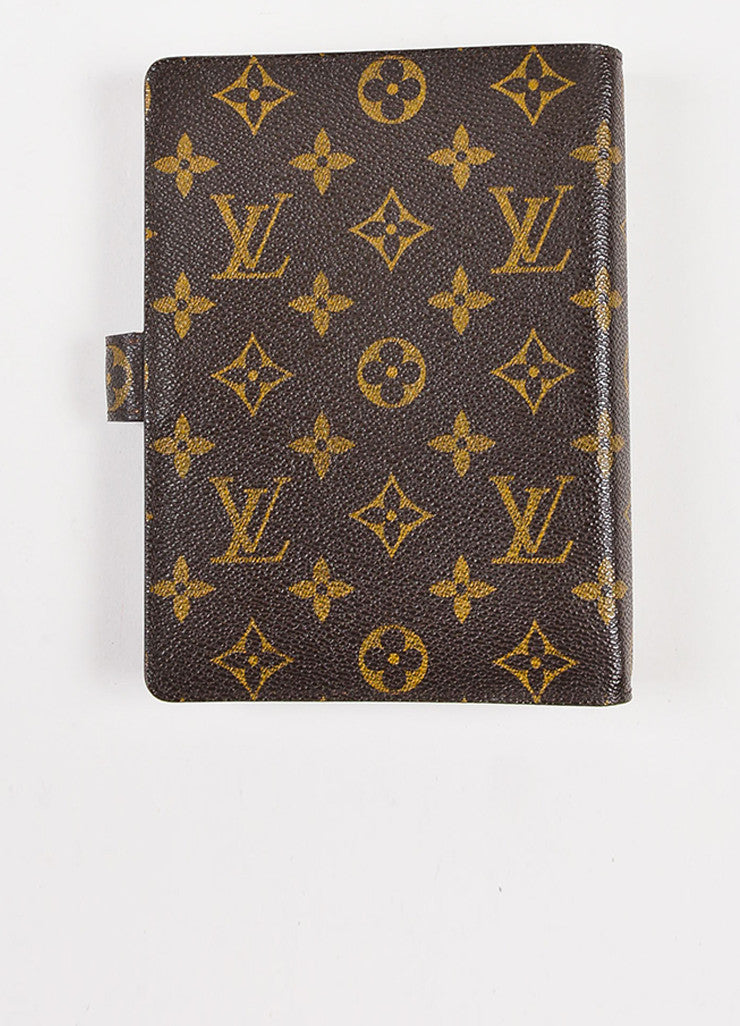 Brown Louis Vuitton Coated Canvas Monogram Medium Ring Agenda Cover Back