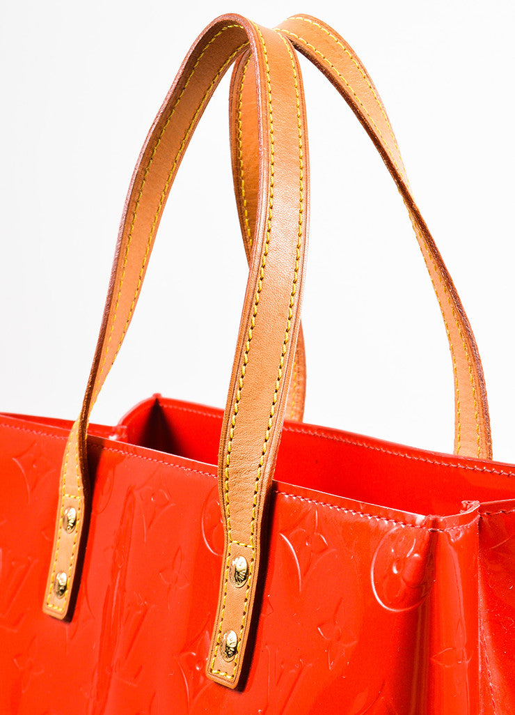"Louis Vuitton Red Vachetta and Vernis Leather Monogrammed ""Reade MM"" Tote Bag Detail 2"