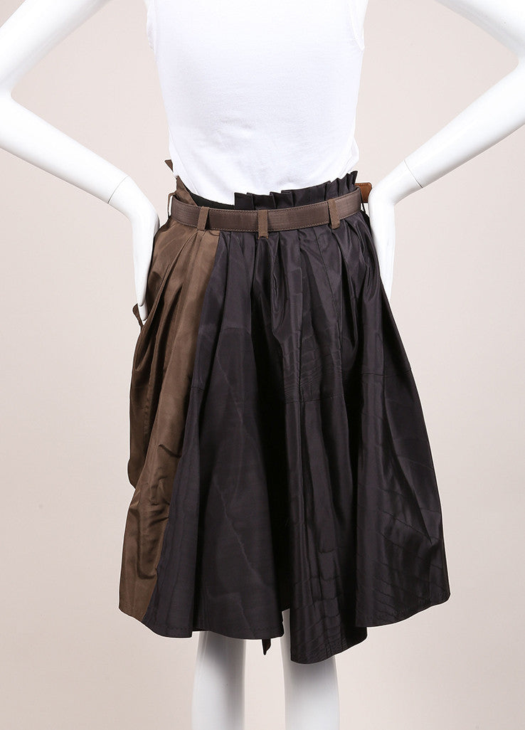 Louis Vuitton Black and Brown Silk Pleated Button Bubble Hem Belted Skirt Backview