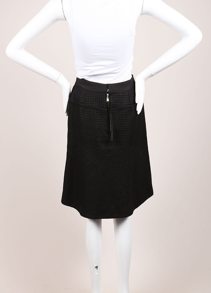 Louis Vuitton Black and Grey Wool and Linen Blend Houndstooth A-Line Skirt Backview