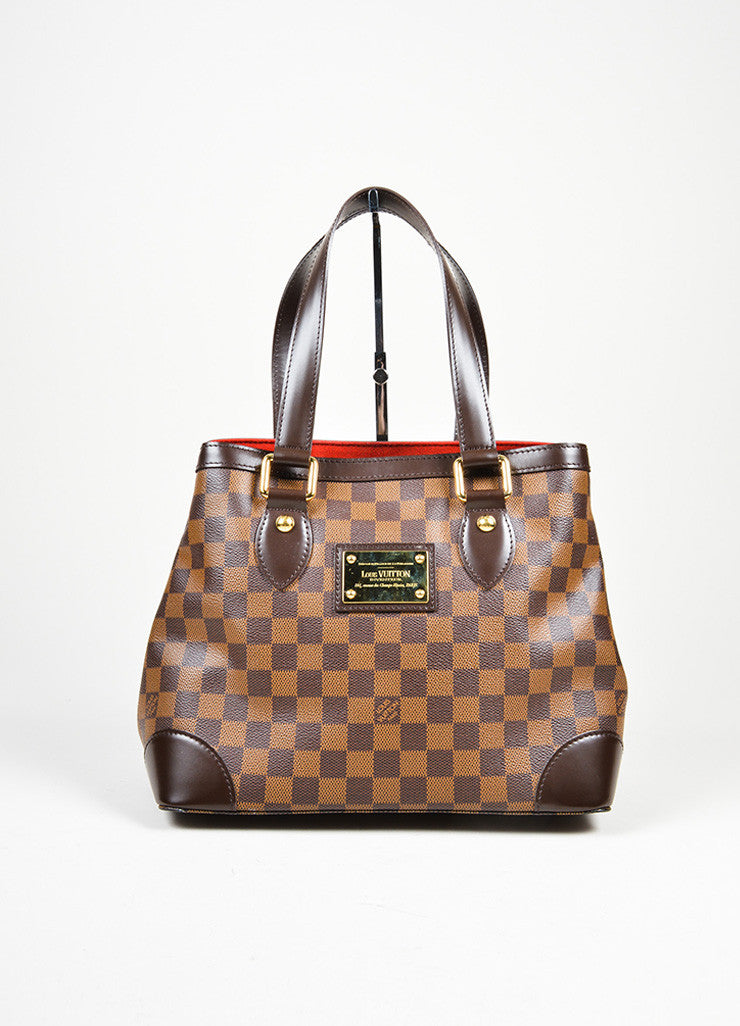 "Brown Louis Vuitton Damier Ebene Coated Canvas ""Hampstead MM"" Bag Frontview"