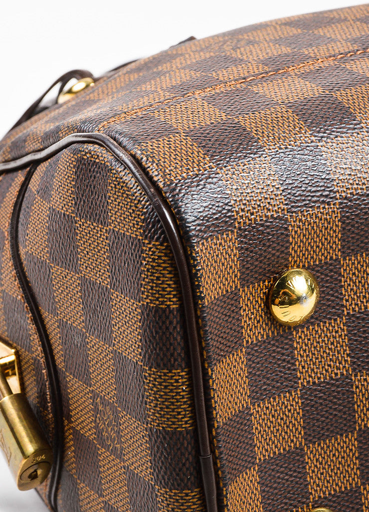 "Louis Vuitton Brown ""Ebene Damier"" Coated Canvas Checkered ""Duomo"" Satchel Bag Detail"