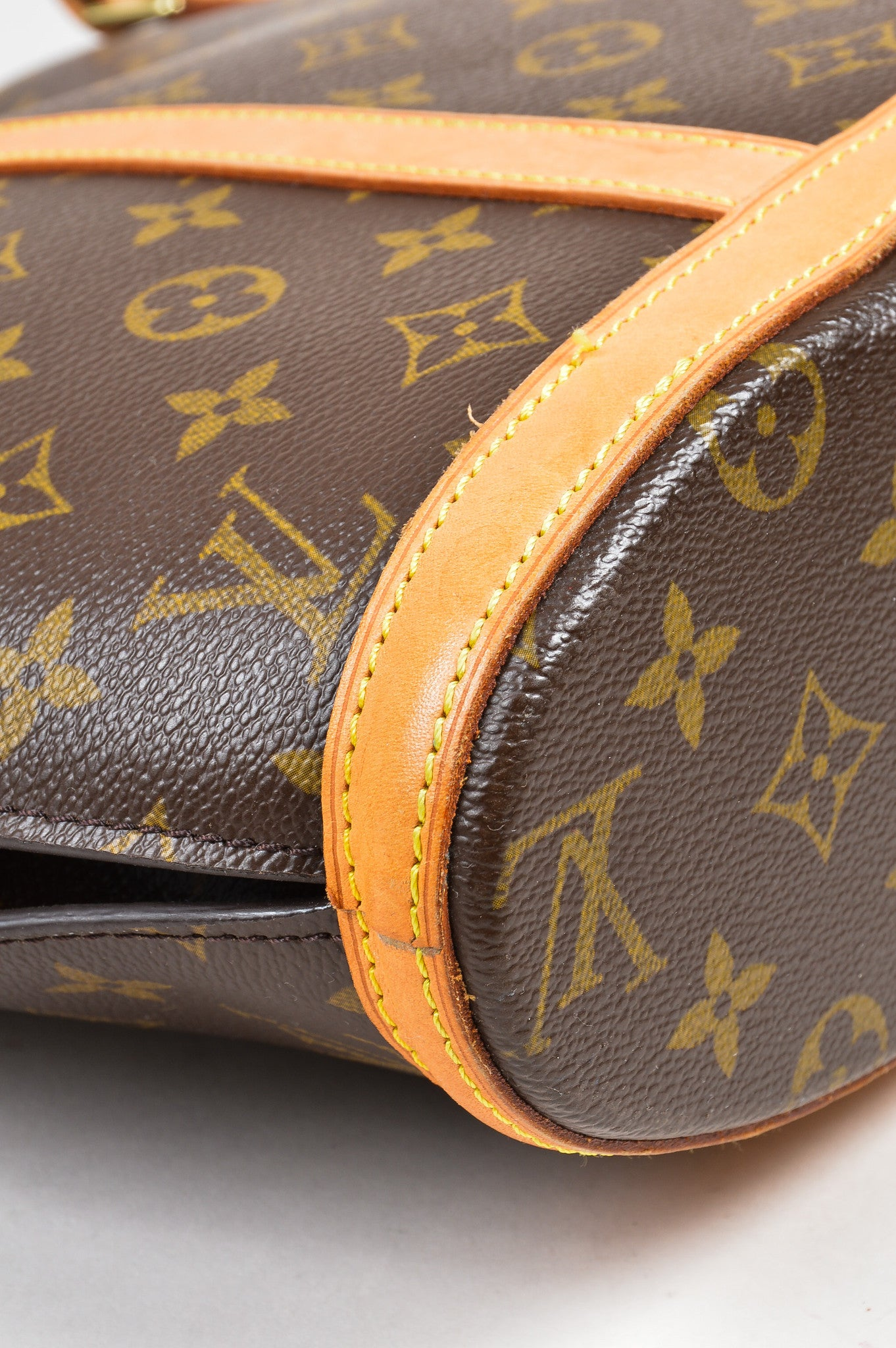 "Brown Louis Vuitton Canvas Monogram ""Babylone"" Tote Detail"