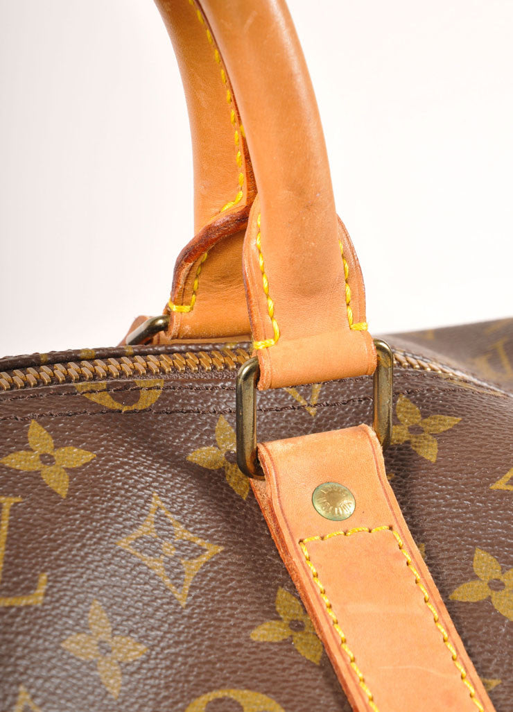 "Louis Vuitton Brown and Tan Coated Canvas and Leather Monogram ""Keepall 60"" Duffel Bag Detail 3"