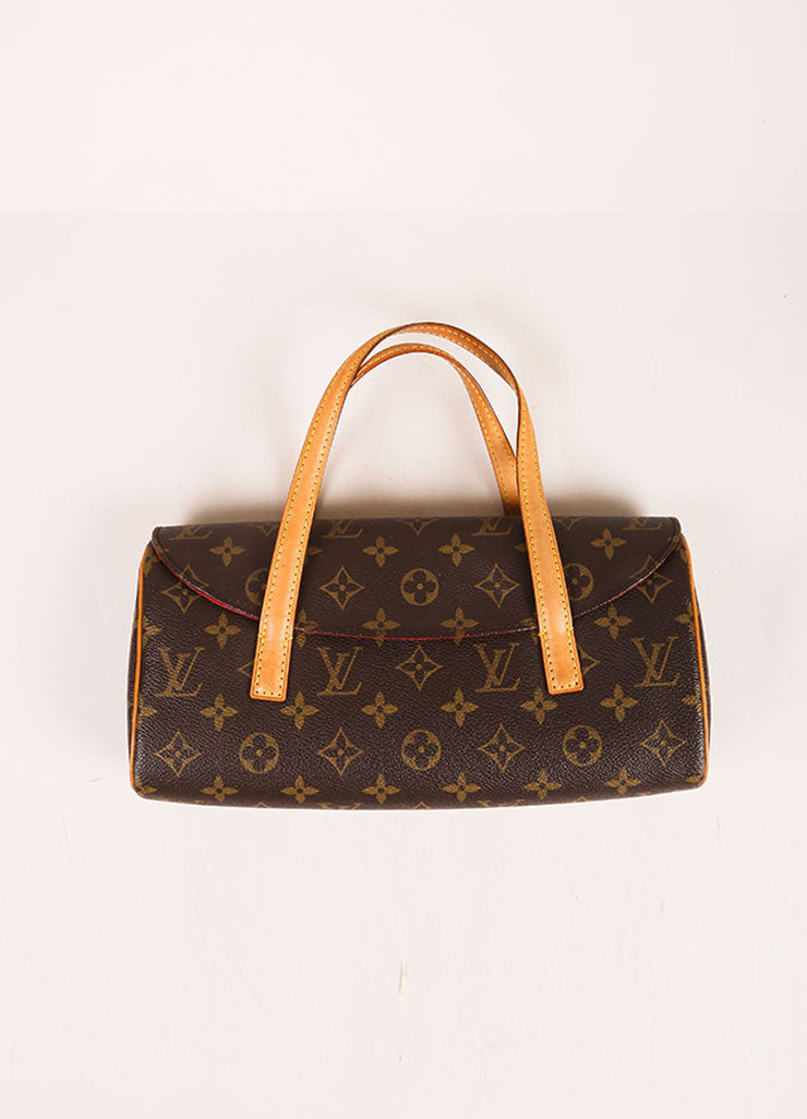 Louis Vuitton Brown Monogram Canvas Flap Handbag Frontview