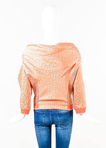 Louis Vuitton Orange Pink Gold Metallic Silk Knit Patterned Cardigan Back