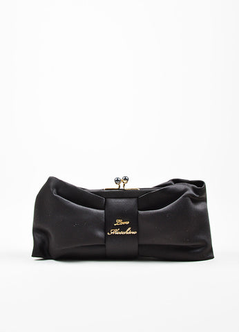 Love Moschino Black Satin Bow Faux Pearl Kiss Lock Clutch Bag Frontview