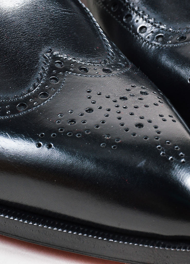 "Men's Christian Louboutin Black Longwing Brogue ""New Platers"" Shoes Detail"
