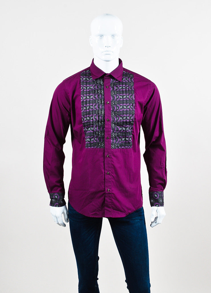 Men's Etro Purple Grey Paisley Print Long Sleeve Button Up Shirt Front