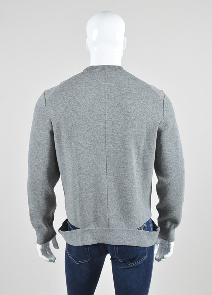 Men's Grey Givenchy Wool Cut Out Hem Crew Neck Pullover Top Back