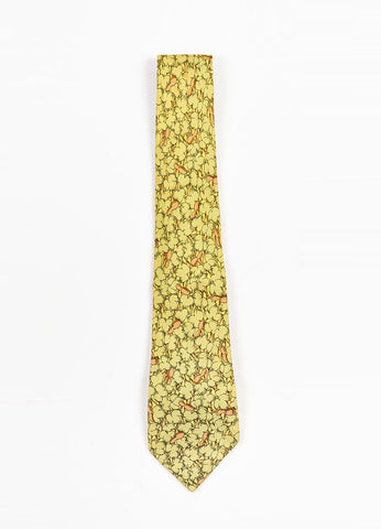 Men's Hermes Green, Brown, and Yellow Silk Leaf Printed Neck Tie Frontview