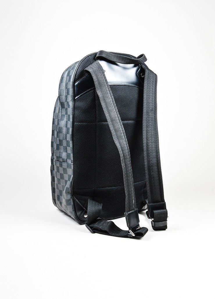 "Men's Louis Vuitton Black and Grey Coated Canvas Damier Graphite ""Michael"" Backpack Backview"
